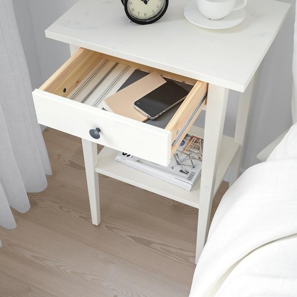 HEMNES Mesa de cabeceira, velatura branca, 46x35 cm