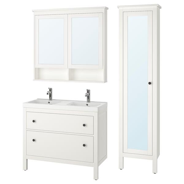 HEMNES / ODENSVIK Móveis casa de banho, conj.6, branco/Voxnan torneira, 103 cm