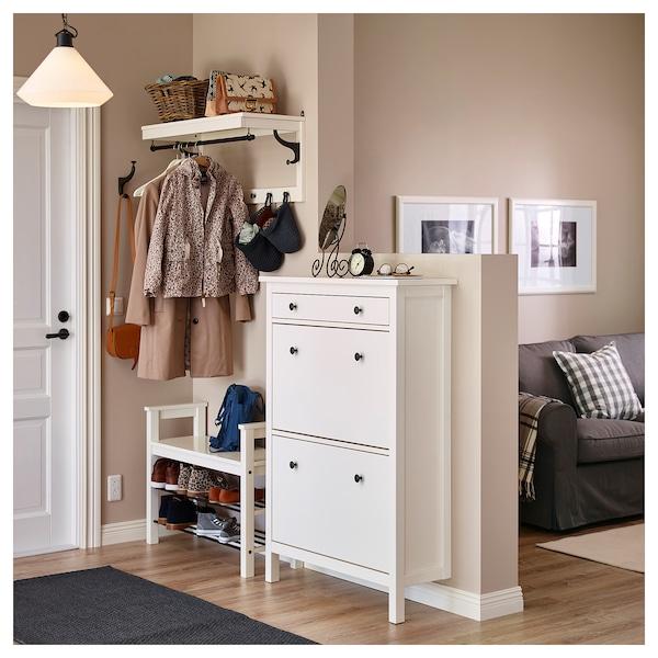 HEMNES Sapateira c/2 compartimentos, branco, 89x30x127 cm