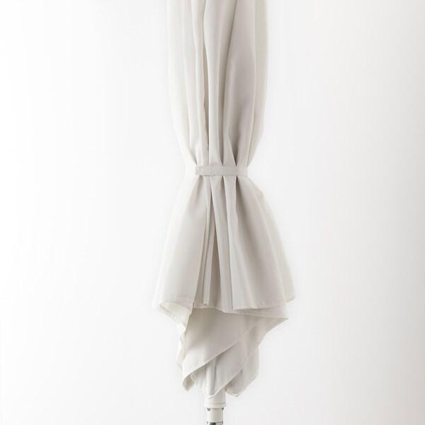 HÖGÖN Guarda-sol c/base, branco/Huvön cinz esc, 270 cm