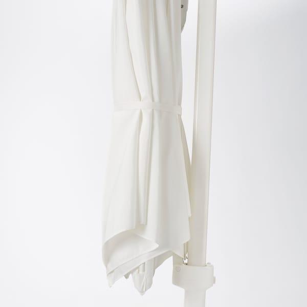 HÖGÖN Guarda-sol suspenso c/base, branco/Svartö cinz esc, 270 cm
