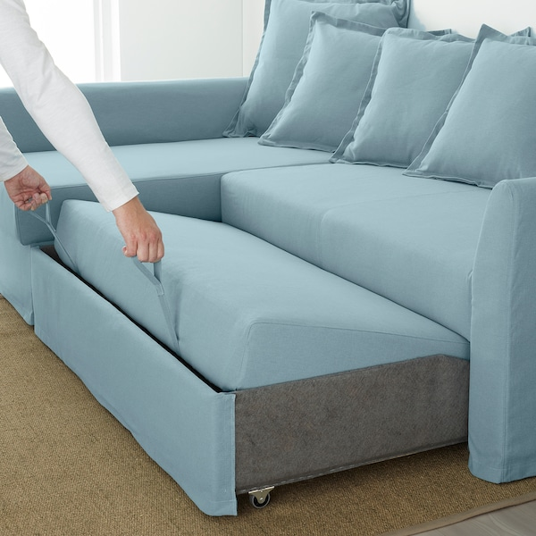 HOLMSUND sofá-cama de canto Orrsta azul claro 96 cm 66 cm 151 cm 230 cm 90 cm 120 cm 60 cm 44 cm 140 cm 204 cm