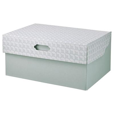 HYVENS Caixa de arrumação c/tampa, verde acinzentado branco/papel, 33x23x15 cm