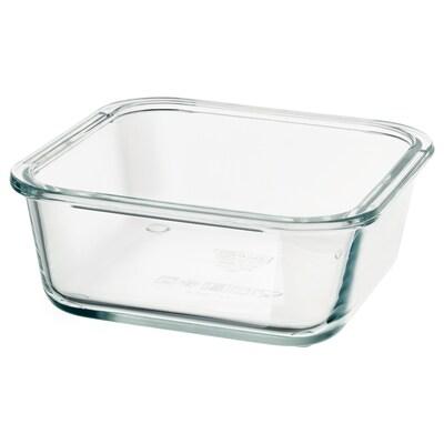 IKEA 365+ Recipiente p/alimentos, quadrado/vidro, 600 ml