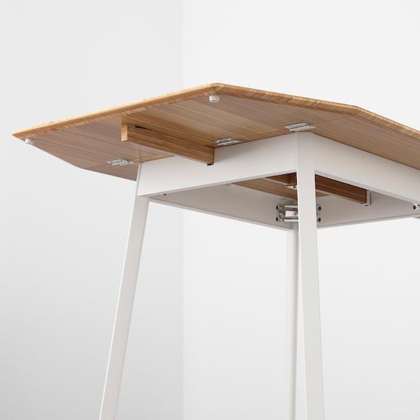 IKEA PS 2012 Mesa de abas rebatíveis, bambu/branco, 74/106/138x80 cm