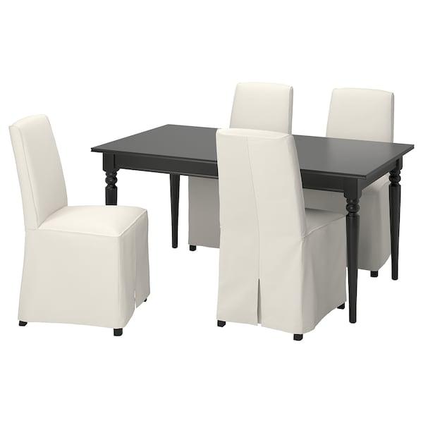 INGATORP / BERGMUND Mesa e 4 cadeiras, preto/Inseros brc/pret, 155/215 cm