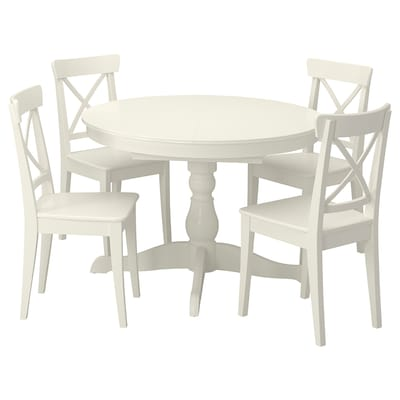 INGATORP / INGOLF Mesa e 4 cadeiras, branco/branco, 110/155 cm