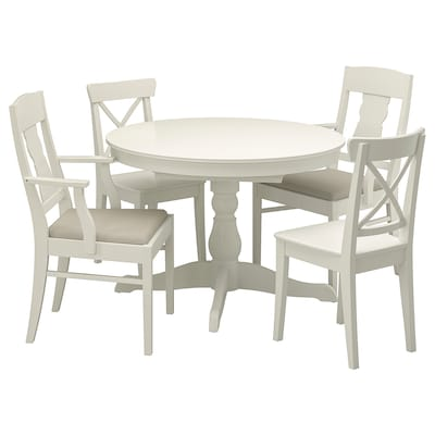 INGATORP / INGOLF Mesa e 4 cadeiras, branco/Nordvalla bege, 110/155 cm