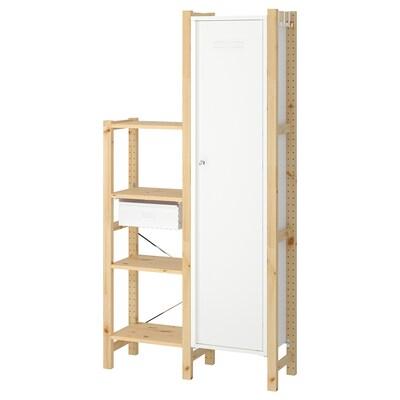 IVAR 2 secções/prateleiras/armário, pinho/branco, 92x30x179 cm