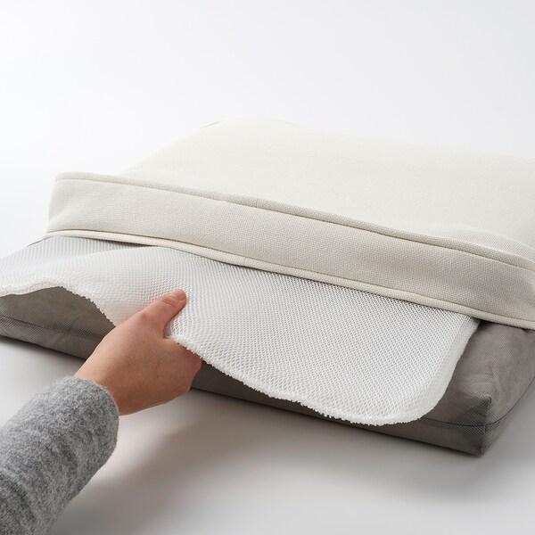 JÄRPÖN/DUVHOLMEN Almofada p/cadeira, exterior, branco, 50x50 cm