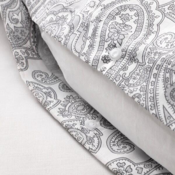 JÄTTEVALLMO Capa de edredão e 2 fronhas, branco/cinz, 240x220/50x60 cm