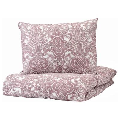 JÄTTEVALLMO Capa de edredão e 2 fronhas, branco/rosa escuro, 240x220/50x60 cm