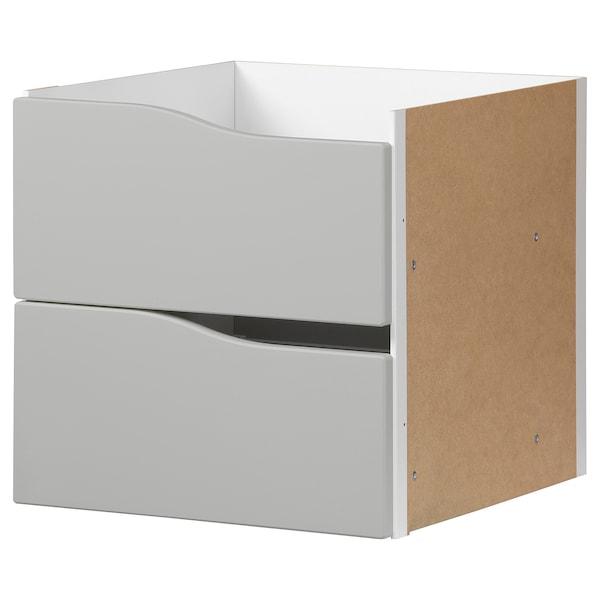 KALLAX Acessório c/2 gavetas, cinz, 33x33 cm