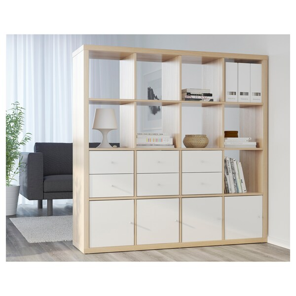 KALLAX Acessório c/porta, ef carvalho c/velatura branca, 33x33 cm