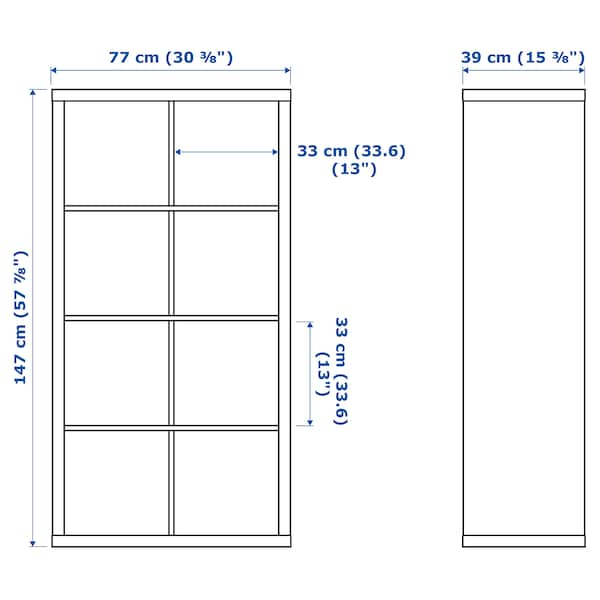 KALLAX Estante c/4 acessórios, ef carvalho c/velatura branca, 147x77 cm