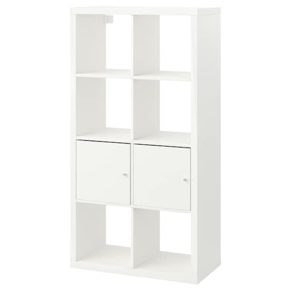 KALLAX Estante c/portas, branco, 77x147 cm
