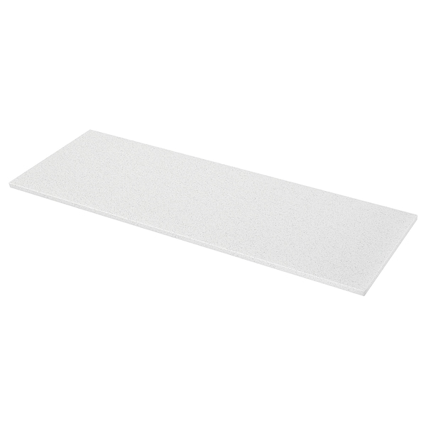 KASKER Bancada feita à medida, branco c/efeito mineral/brilhante/quartzo, 1 m²x3.0 cm