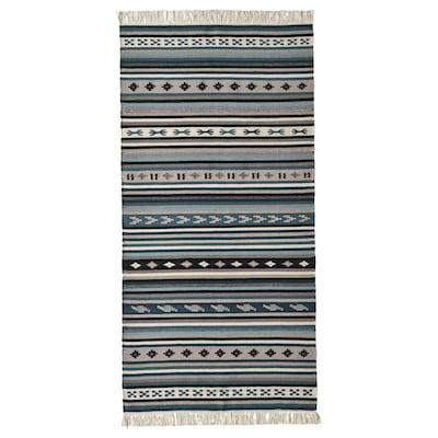 KATTRUP Tapete, tecelagem plana, feito à mão/azul, 75x150 cm