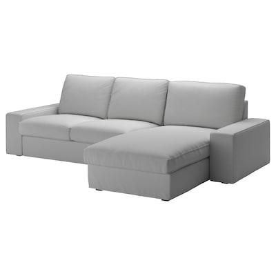KIVIK Sofá 3 lugares, c/chaise longue/Orrsta cinz clr