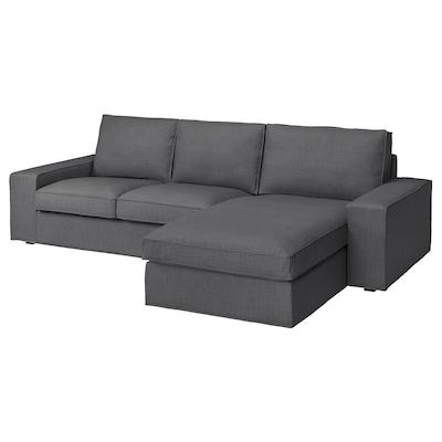 KIVIK Sofá 3 lugares, c/chaise longue/Skiftebo cinz esc