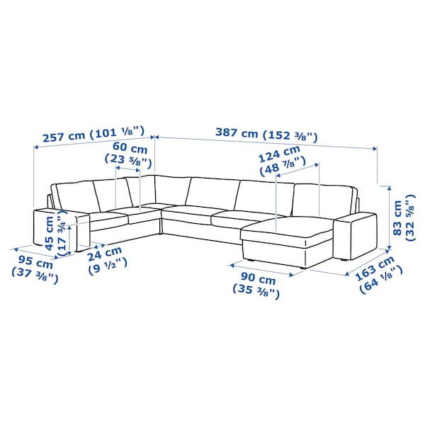 KIVIK Sofá canto, 6 lugs, c/chaise longue/Hillared bege