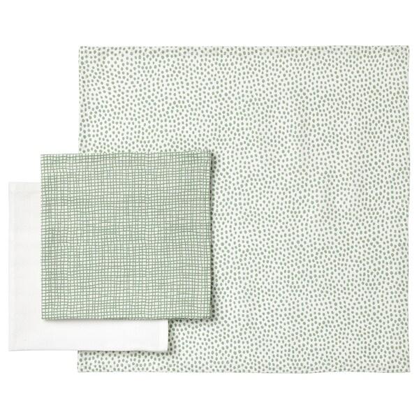 KLÄMMIG Toalha de rosto, verde/branco, 3 unidades