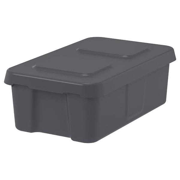 KLÄMTARE Caixa c/tampa, int/exterior, cinz esc, 58x45x30 cm