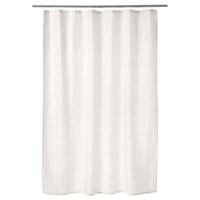 KLOCKAREN Cortina de duche, branco-bege, 180x200 cm