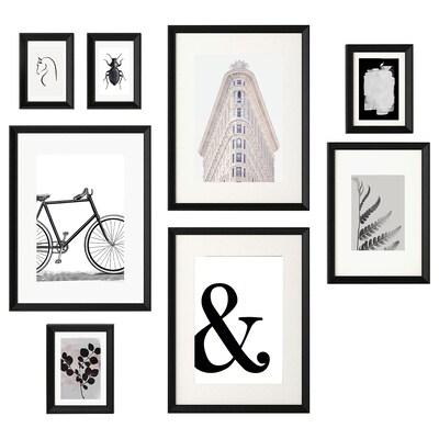 KNOPPÄNG Moldura c/póster, conj. 8, Objetos em preto e branco