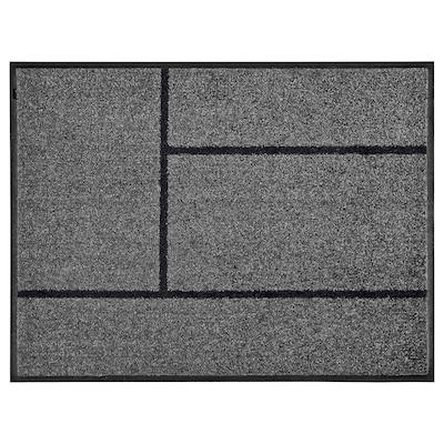 KÖGE Tapete de entrada, cinz/preto, 69x90 cm