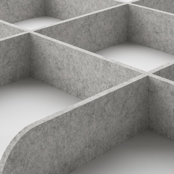 KOMPLEMENT Tabuleiro extraível c/divisória, ef freixo c/velatura cast/cinz clr, 75x58 cm
