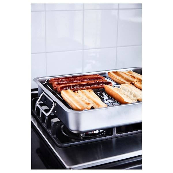 KONCIS Tabuleiro forno c/grelha, aço inoxidável, 40x32 cm