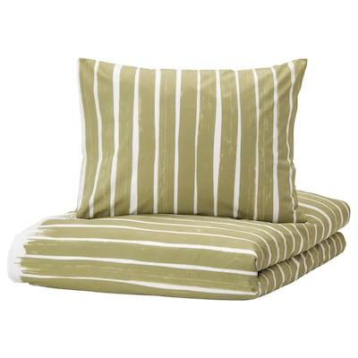 KRANSRAMS Capa de edredão e 2 fronhas, branco/verde, 240x220/50x60 cm