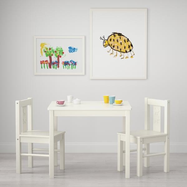 KRITTER Mesa p/criança, branco, 59x50 cm