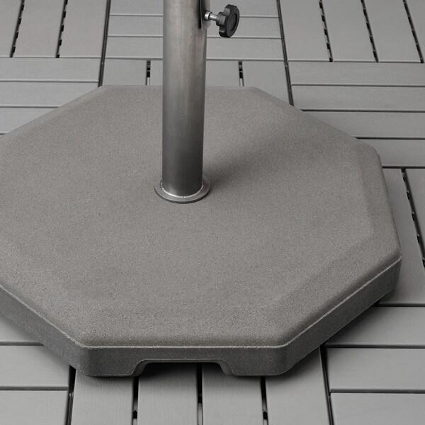 KUGGÖ / VÅRHOLMEN Guarda-sol c/base, cinz cinz esc/Huvön cinz esc, 300 cm