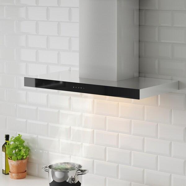 KULINARISK Exaustor de parede, aço inoxidável/vidro, 90 cm