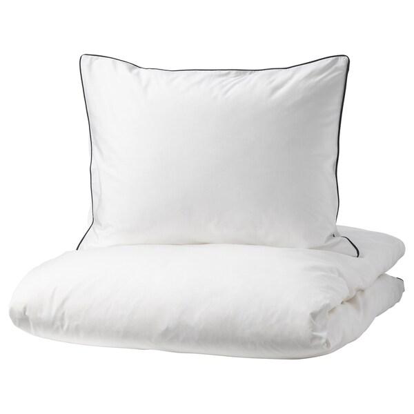 KUNGSBLOMMA Capa de edredão e 2 fronhas, branco/cinz, 240x220/50x60 cm