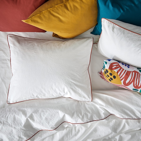 KUNGSBLOMMA Capa de edredão e fronha, branco/verm, 150x200/50x60 cm