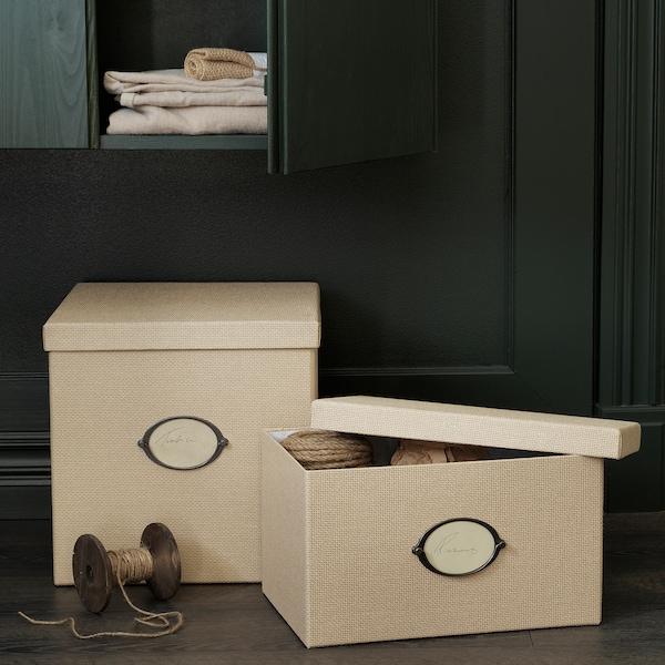 KVARNVIK Caixa de arrumação c/tampa, bege, 25x35x20 cm