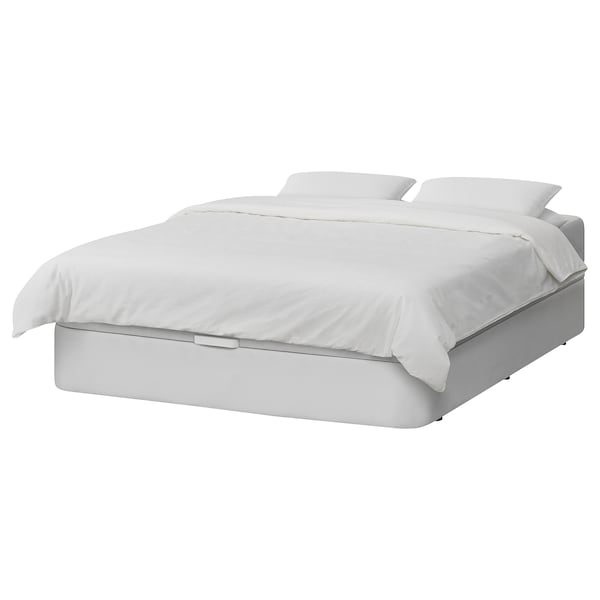 KVITSÖY Estrut cama acolchoada c/arrumação, Bomstad branco, 160x200 cm