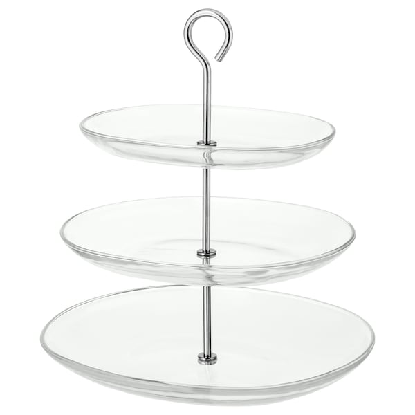 KVITTERA Prato de 3 andares, vidro transparente/aço inoxidável