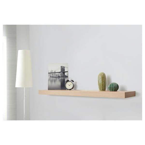 LACK Estante de parede, ef carvalho c/velatura branca, 110x26 cm