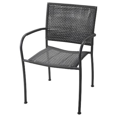 LÄCKÖ Cadeira c/braços, exterior, cinz