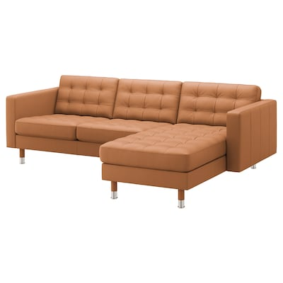 LANDSKRONA Sofá 3 lugares, c/chaise longue/Grann/Bomstad castanho dourado/metal