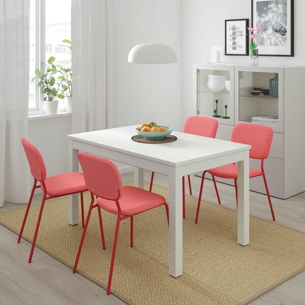 LANEBERG / KARLJAN Mesa e 4 cadeiras, branco/verm verm, 130/190x80 cm