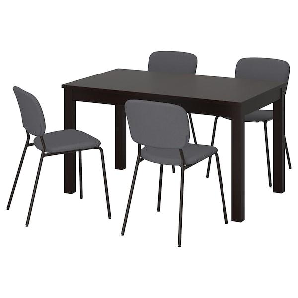 LANEBERG / KARLJAN Mesa e 4 cadeiras, castanho/cinz esc cinz esc, 130/190x80 cm