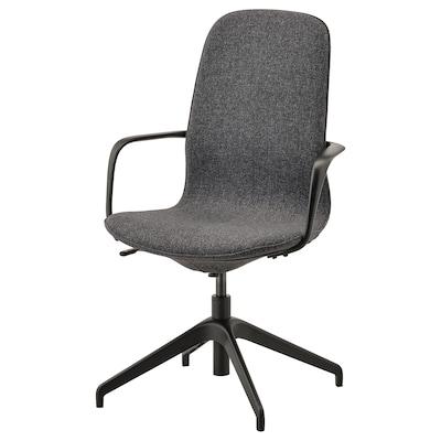 LÅNGFJÄLL Cadeira giratória c/braços, Gunnared cinz esc/preto