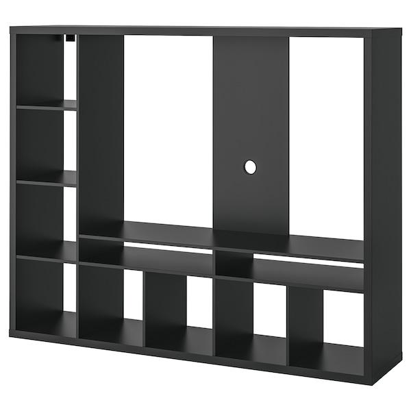 LAPPLAND Módulo de arrumação/móvel de TV, preto-castanho, 183x39x147 cm