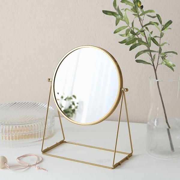 LASSBYN Espelho p/toucador, dourado, 17 cm