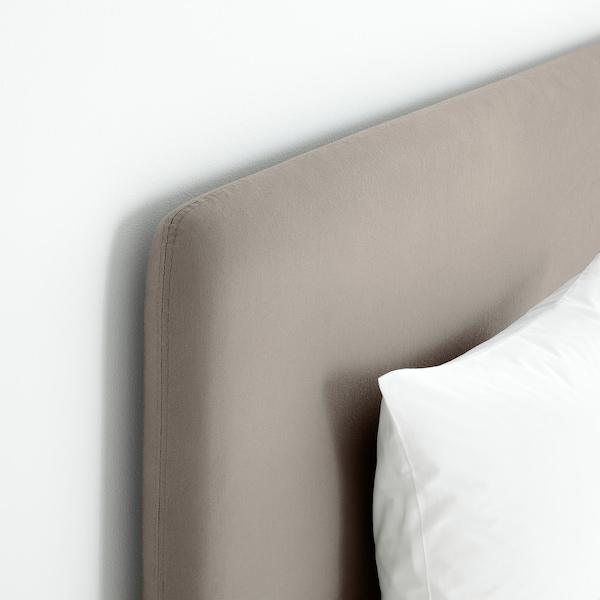 LAUVIK Cama continental, Hamarvik extra firme/bege escuro, 160x200 cm